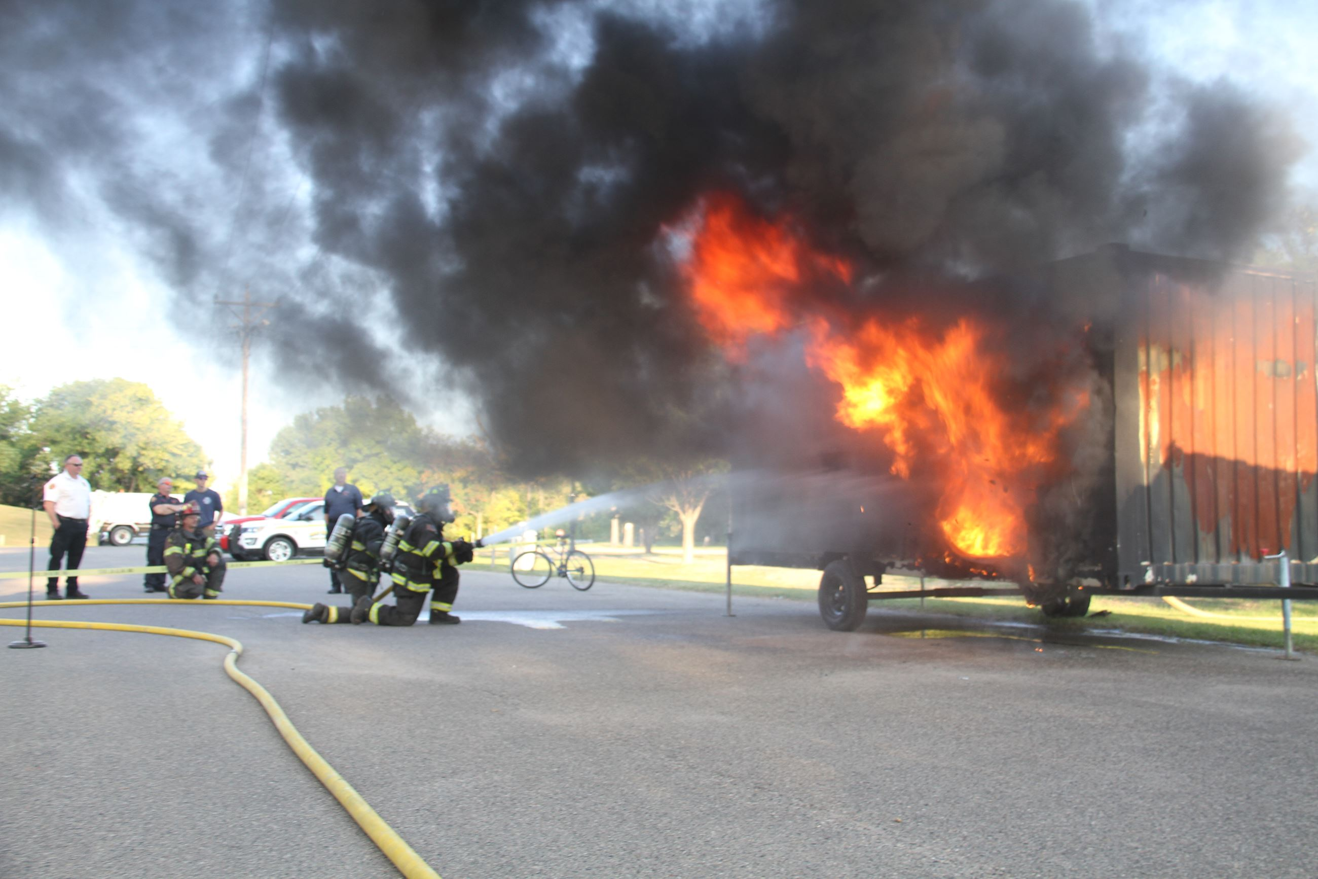 West Fargo Fire Department demonstrates how they put out fires