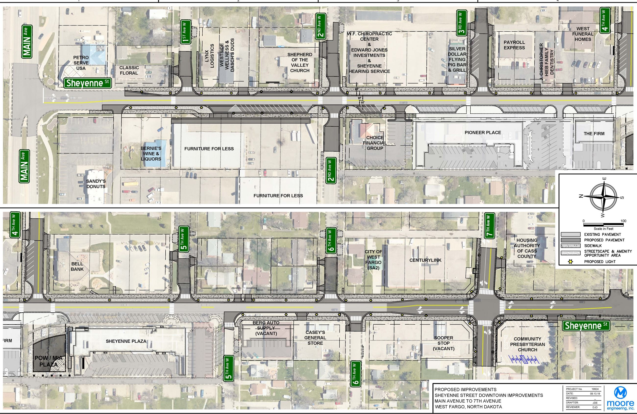 Sheyenne Street Downtown Road Improvements Map