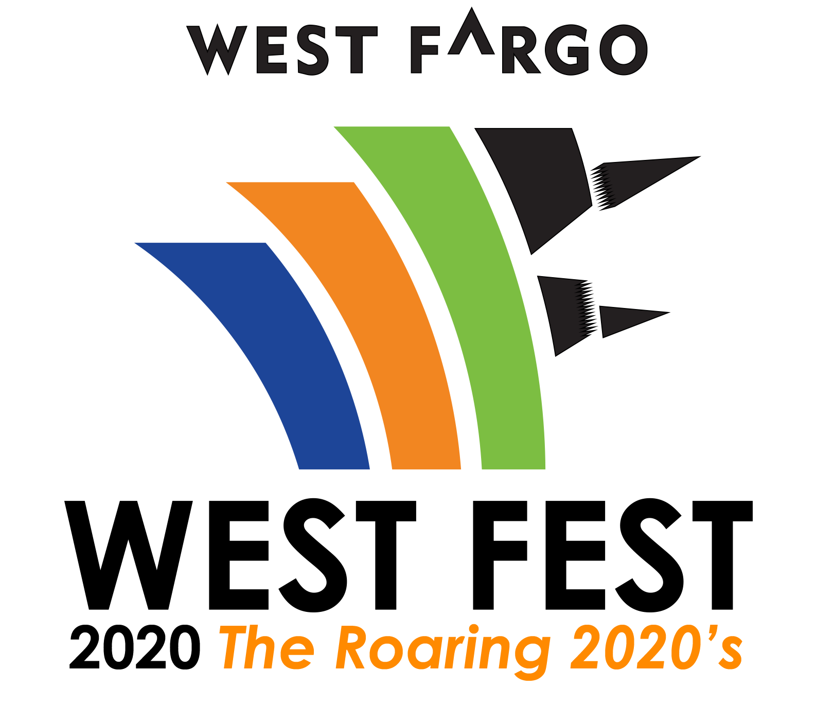 "Logo for West Fest says ""West Fargo West Fest 2020 The Roaring 2020s"""